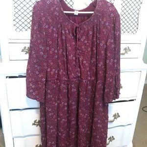 Purple Floral Peasant Dress